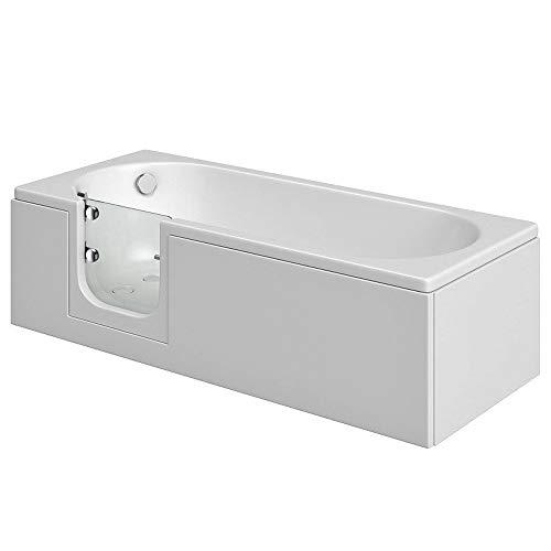 Badewanne mit Tür, Seniorenbadewanne 150x70x51cm mit Wannenschürze und Ablauf/Sifon, Ausführung LINKS