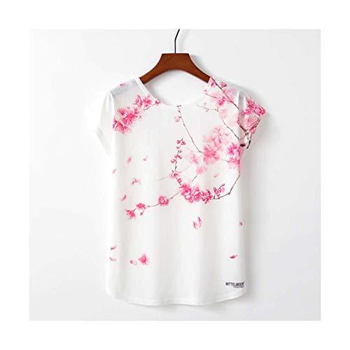 Spring Summer Women T Shirt Novelty Harajuku Kawaii Cute Style Flower Print T-Shirt New Short Sleeve Tops Size M L XL TP1096 M