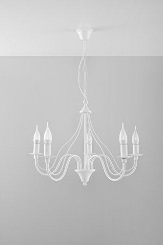 Nostalgischer Kronleuchter (5-flmg, Rustikal, in Weiß) Landhauslampe Innenleuchte Dekolampe Hängeleuchte Pendelleuchte Lüster - 5 Licht Rustikale Kronleuchter