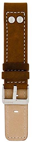 Oozoo Armband - Ersatzarmband für Oozoo Uhren etc. - 20 mm - Farbe : Dunkelbraun/Niete