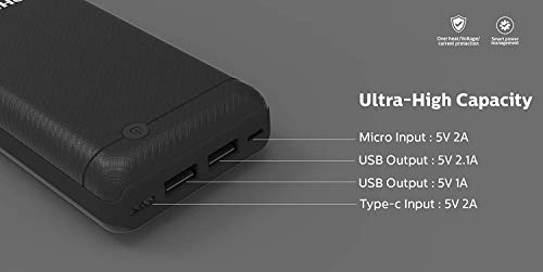 Best philips power bank in India 2020 Philips DLP1720CV Fast Charging Power Bank 20000mAh with Lithium Polymer Battery Black (Twin USB Output Port 3.1A, with Micro USB and Type c Input Image 8