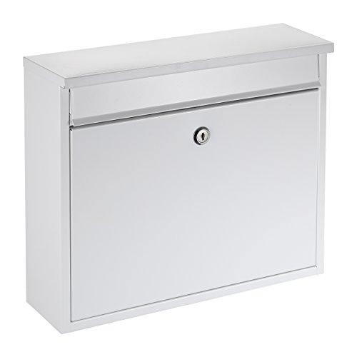 Mari Home Wandmontierter A4 Briefkasten | L, Stahl, Für den Außenbereich | Briefkasten mit verschließbarer Tür und 2 Schlüssel | Dim. 36 x 31.5 x 11.5 cm | 33.5 x 3.5 cm Vordere Klappe | Weiß
