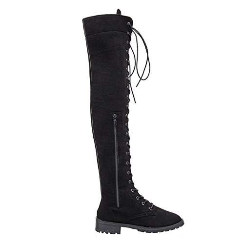 Damen Stiefel zum Schnüren Lang Knie Stiefel Flacher Absatz Elastisch Stoff Für den Herbst Winter Schwarz/41