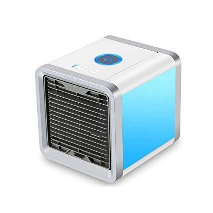 Mini Air Refroidisseur,Petit climatiseur Climatiseur Portable 3 EN 1,Refroidisseur,Purificateur,Humidificateur, 3 vitesses de vent, avec 7 Couleurs Veilleuse/Accueil/bureau/extérieur