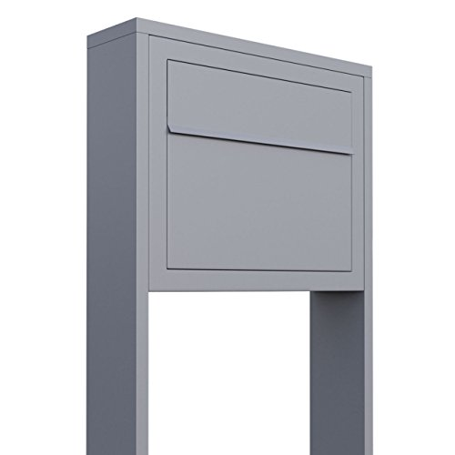 Standbriefkasten, Design Briefkasten Elegance Stand in Grau Metallic