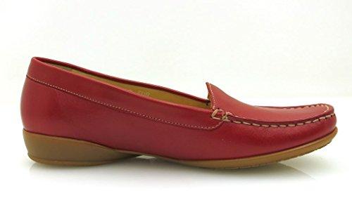 Mephisto Slipper Mocassin Chaussures en cuir pour femmes Nedda Alexandre rouge blanc Rouge