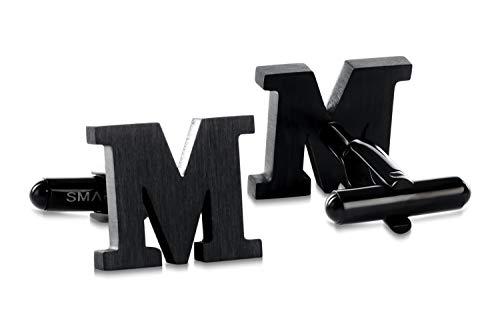 SMARTEON® Manschettenknöpfe für Herren | Premium Buchstaben A-Z | Silber & Schwarz aus hochwertigem Edelstahl in mattem Design | Elegante Cufflinks in einem edlen Geschenk-Set (M - schwarz)