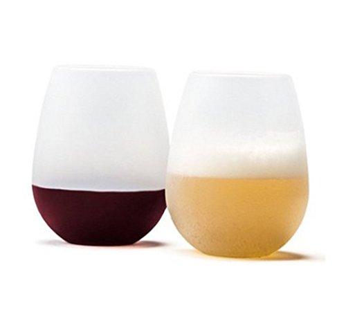 faltbare weinglaeser Mangotree Unzerbrechlich Lebensmittelqualität Silikon Weingläser Flexible Camping Bier Wein Glas Rotweingläser (2pcs, Weiß)