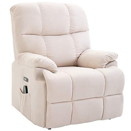 HOMCOM Massagesessel Aufstehhilfe Relaxsessel mit Wärmefunktion Fernbedienung PU Creme 94 x 96 x 104 cm