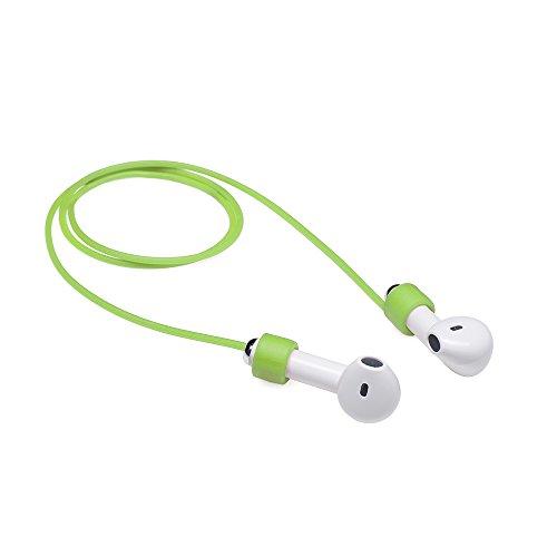 MC24 Kopfhörer Halter - Halteband Funem kompatibel mit Apple Airpods Kopfhörer - Flexible Band Straps Hals-Schlaufe aus weichem Band Straps in grün Band Bluetooth