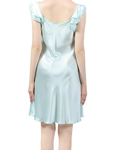 ELLESILK 100% Seidennachtkleid, Sommer-Nachthemd Negligee, 22 Momme Maulbeerseide Mintgrün