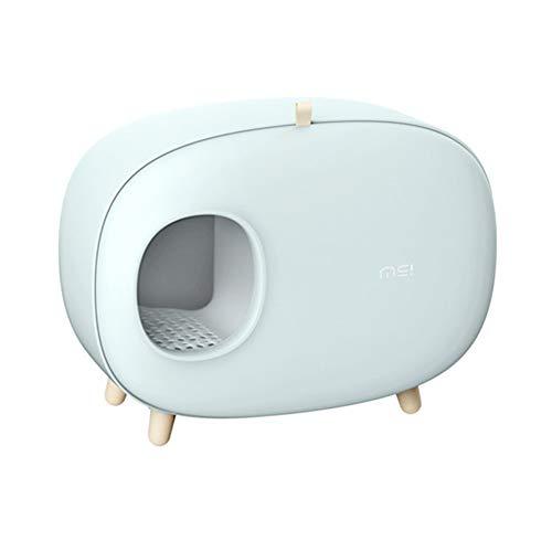 Toilette per gatti lettiera for Animali Domestici, Completamente Chiusa bentonite lettiera WC, WC Gatto puzzolente puzzolente (Color : Green)