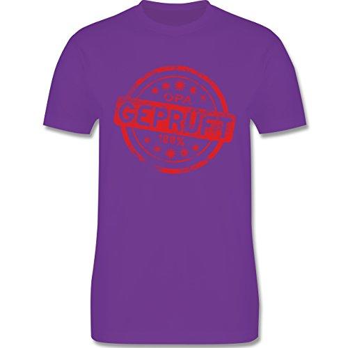 Großeltern - Opa geprüft - L190 Herren Premium Rundhals T-Shirt Lila