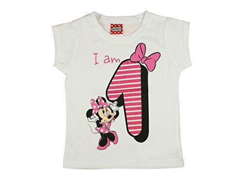 (Mädchen Baby Kinder vierter Geburtstag Kurzarm T-Shirt 1 Jahr Baumwolle Birthday Outfit GRÖSSE 86 Minnie Mouse Disney Design und Glitzer in Weiss oder Rosa Babyshirt Oberteil Farbe Weiss Farbe Weiss)