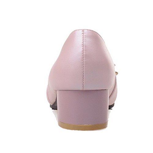 VogueZone009 Damen Quadratisch Zehe Niedriger Absatz Ziehen Auf Rein Pumps Schuhe Pink
