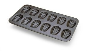 Madeleine Pan 12 Cavities-NONSTICK-Each cavity: 3-1/4X2. Overall size of pan: 15-1/2X9 by Gobel -