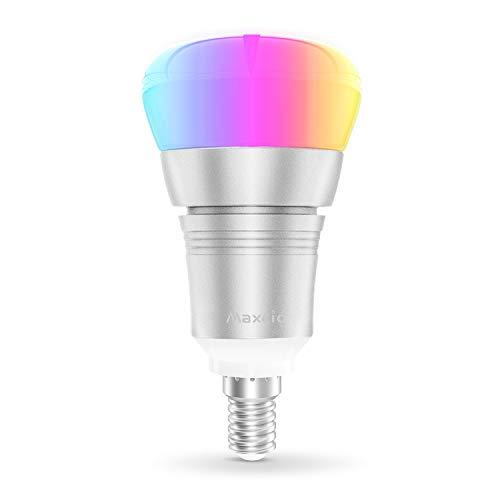 Alexa Smart Lampe, Maxcio Wifi Led Glühbirne, [9W E14], Kompatibel mit Amazon Alexa und Google Home, Fernsteuerung via App, Timing Funktion, Buntes und Dimmbares Licht, 8 Szene-Modus - 1 Pack -