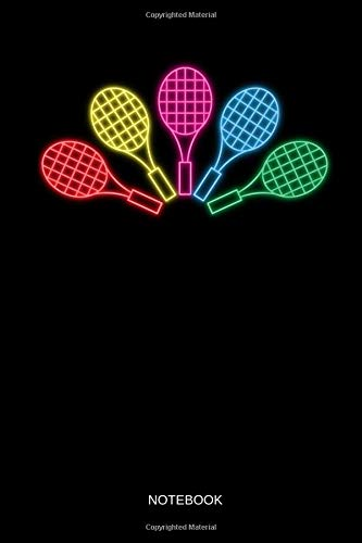0s Neon Retro Tennis Racquets - Tennis Notebook / Journal. Funny Tennis Accessories & Novelty Tennis Player Gift Idea. ()