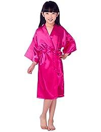 526f378c80e Kinder Mädchen Morgenmantel Satin Seide Kimono Bademantel Nachtwäsche Kurz  Pure Farbe Robe