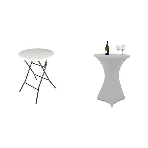 Vanage Gartentisch klappbar in weiß - runder Bistrotisch / Stehtisch für Garten, Terrasse und Balkon - 80 x 80 x 110 cm & Stretch Husse für Stehtische, grau
