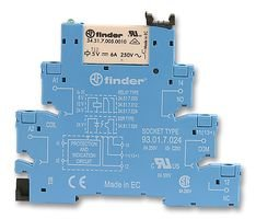 finder Relay, Screw Term, DPDT, 8A, 24VDC 38.52.7.024.0050 -