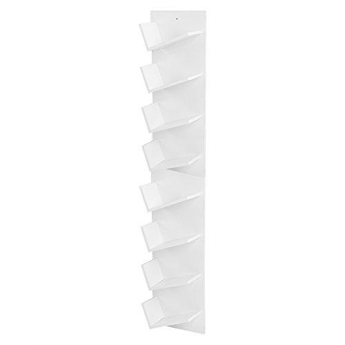 Wandregal Hängeregal, 8-Tier an der Wand befestigte Bücher CDs Display Lagerregal Regal Organisation Kabinett Bücherregal (Weiß) -