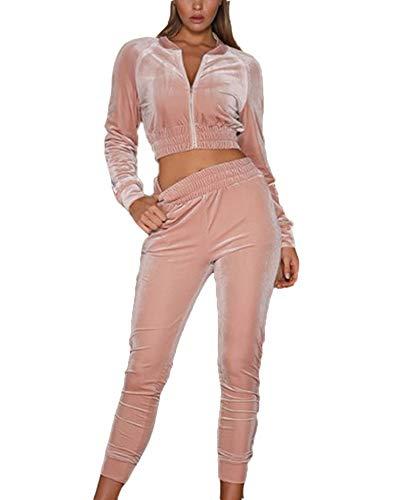 XQshop Damen Samt Casual Jogger Trainingsanzug, Frauen Jogging Lounge Zip Tops + Lange Hosen Zwei Stücke Set - Zip Jogger