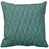 Chic Teal and Gold Modern Decorator Accent pillow cover 2020 cover 2020