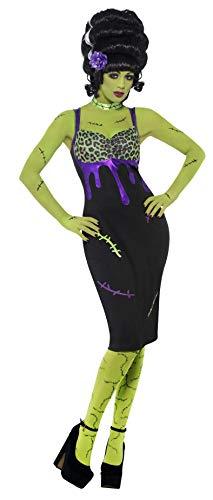 Smiffys, Damen Pin Up Frankie Kostüm, Kleid, Blume und Halsband, Größe: L, 23356 (Halloween Kostüme Frankensteins Braut Perücke)