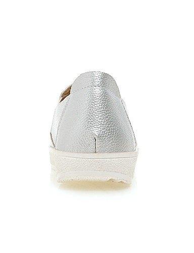 ZQ Scarpe Donna - Mocassini - Formale - Punta arrotondata - Piatto - Finta pelle - Bianco / Argento , silver-us8 / eu39 / uk6 / cn39 , silver-us8 / eu39 / uk6 / cn39 white-us6.5-7 / eu37 / uk4.5-5 / cn37