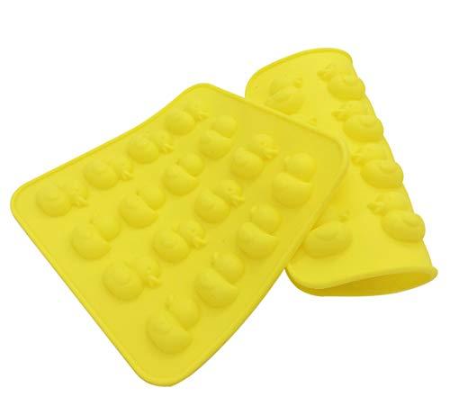 Silikon-Form Ente für Süßigkeiten, 16 Mulden, Gelbe Ente, Schokolade, Süßigkeiten, Gummi, handgefertigt, 2 Stück
