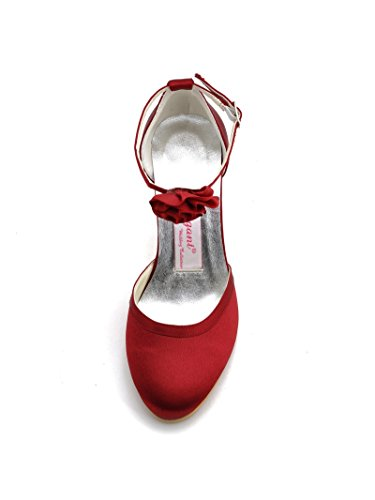 Elegantpark EL-0114 Femme Bout Rond Fleur Boucle Cheville Talon Aiguille En Satin Chaussures De Mariage vin rouge