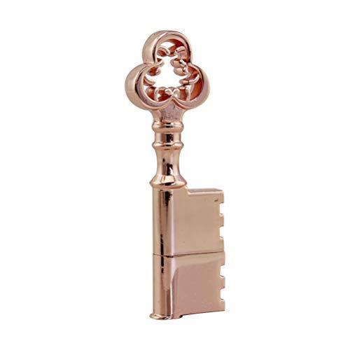 Neuheit und Wasserdicht Metall Rose Gold Schlüssel Form 64GB USB 2.0 Flash Drive Cool USB Stick Speicherstick Lustig U Disk Geschenk (2 Gold Form)