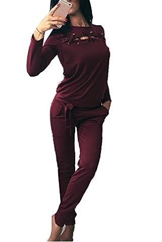 Minetom Femme Été Manches Longues Hauts Tops et Longues Pantalons Mode Sport Costume Deux-pièces Ensemble Casual Bander Combinaison Bourgogne FR
