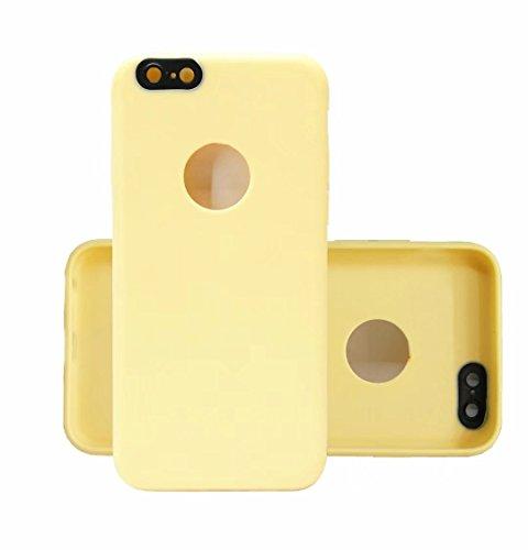 Case iPhone 6/6S Plus Custodia Cover Coperture telefoniche Silicone TPU Soft Shell Caso Tasto di placcatura per cassa del telefono raschiatore anti-impronte digitali+ Proteggi Schermo Trasparente(5.5 Beige