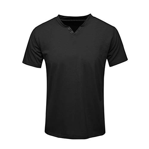 Eaylis-Herren tops T-Shirt Kurzarm V-Ausschnitt Knopf GrößE Sport T-Shirt Oben Kurzarm Einfarbig