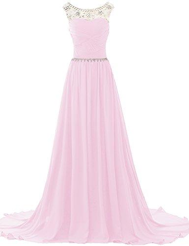 JAEDEN Donne Chiffon Abiti da ballo Vestito da sera Abiti da damigella con Perline lungo Rosa chiaro