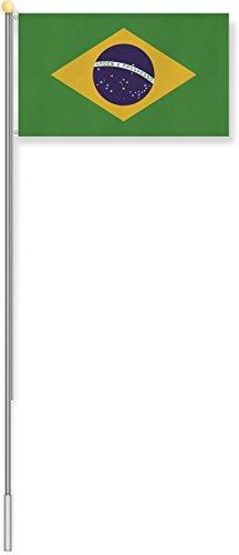 normani Fahnenmast 6,80 oder 7,50 Meter Höhe mit verschiedenen Flaggen zur Auswahl Farbe Brasilien Größe 6.8m Höhe