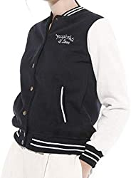 GAGA Women Varsity Baseball Bomber Jacket Short Button Closure Outwear Top