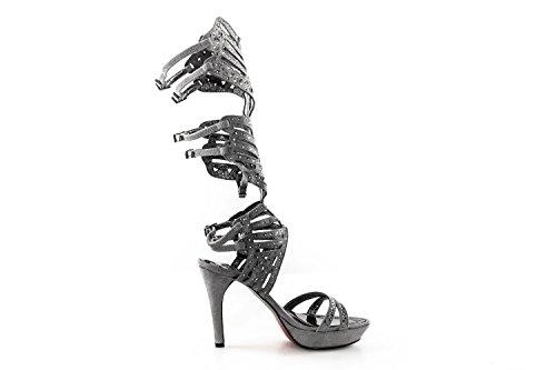 Scarpe donna WHY A. VENTURINI sandalo alto grigio con gambale e strass N37 X2676