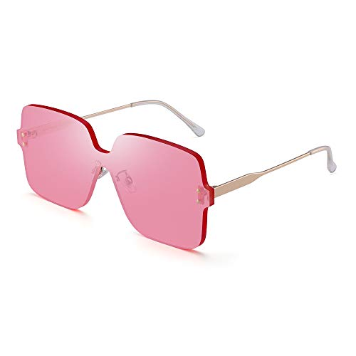 JIM HALO Oversized Randlos Sonnenbrillen Damen Platz Transparent Candy Color Linsen Rosa