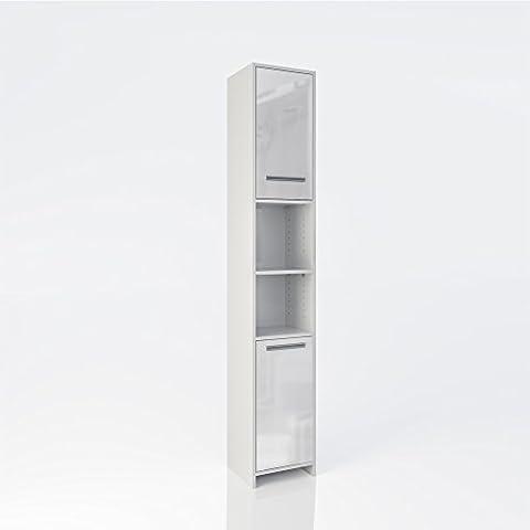 Badschrank KIKO 190 x 30 cm Weiß Hochglanz - Badezimmerschrank Hochschrank Badmöbel Schrank Regal