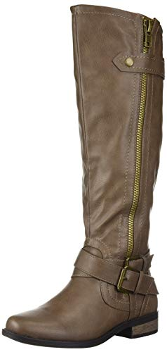 Buckle Knee High Boot (Rampage Women's Hansel Zipper and Buckle Knee-High Riding Boot)