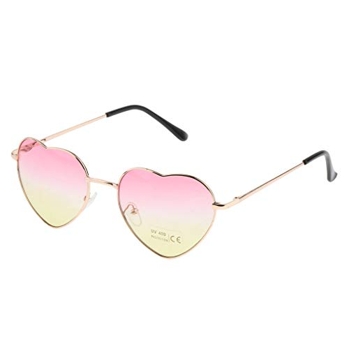 Sharplace Hübsche Herzförmige Metallrahmen Sonnenbrille Frauen Party Brillen - Pink