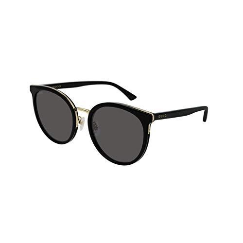 Gucci Damen-Brille Korean GG 0405SK 001 Schwarz und Gold Katzen Cat Eye Gläser Grau Rauchgrau cal 56