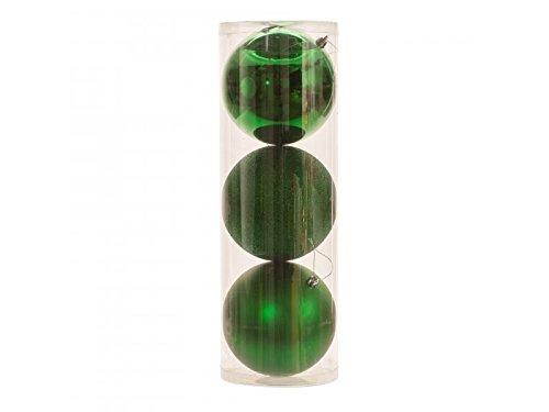 Mixed 15cm Baubles 3pk Green