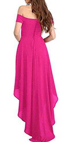 Arrowhunt Damen Elegant Kleider Unregelmäßig Bandeau Schulterfrei  Cocktailkleid Asymmetrisch Partykleid Kurzarm Abendkleid Ballkleid Rose ...