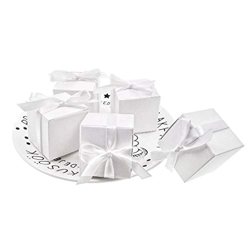 Jzk 50 cubo bianca scatola portaconfetti scatolina bomboniera segnaposto portariso per matrimonio compleanno natale nascita battesimo comunione