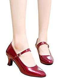 047600c89b8b Dasongff Damen Tanzschuhe Latin Dance Glossy Schuhe Geschlossen Soziale  Partei Tango Ballschuhe Silber 5.5CM High Heels Dance Shoes…