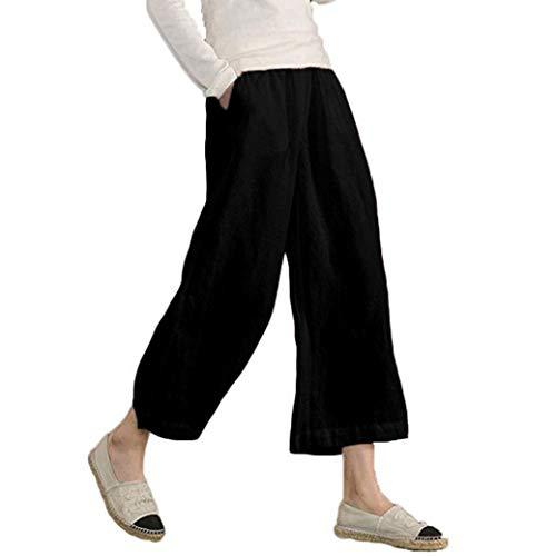 JERFER Damen Elastische Taille beiläufige lose Hose Hose mit weitem Bein abgeschnitten Mode lässig Herbsthose - Drei Viertel Bein
